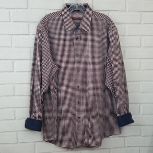 Tasso Elba Tattersall Cotton Button Down Shirt
